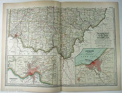 Original 1897 Map of Southern Ohio by The Century Company. Antique