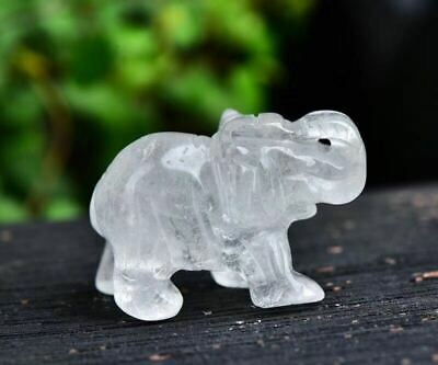 Gift Fine natural white Crystal hand-carved Elephant Small statue