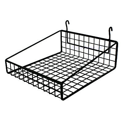 Small Wire Basket to Fit Mesh / Gridwall 295mm Wide In Black Shop Display (K30B)