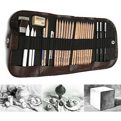 29Pcs Sketching Pencil Set Charcoal Extender Eraser Cutter Drawing Suit Art Kit