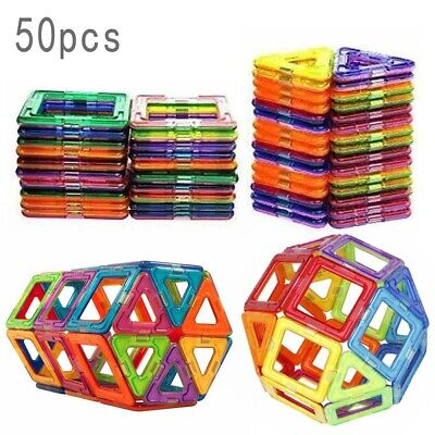 100/50PCS Magnetic Building Blocks Construction Educational Kids Magic Toy Gift*