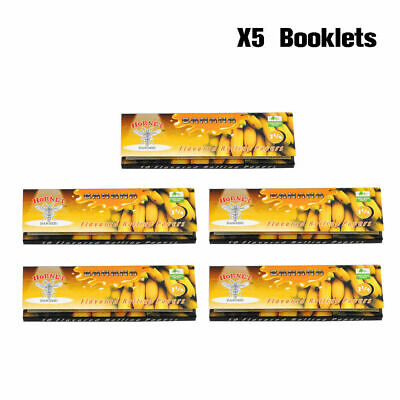 5 Packs Hornet Banana Flavored Rolling Papers 1 1/4 Size Rizla Flavor Cigarette
