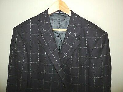 Mens Chester Barrie Wool Cashmere Blue Window Pane Blazer 42R Made in England