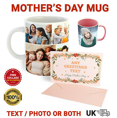 Personalised Mug Custom Photo Text Collage Mothers Day Gifts Mug With FREE Card