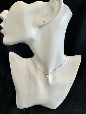 22K 22ct Gold Wave Chain Necklace With Heart Pendant 50cms Stamped