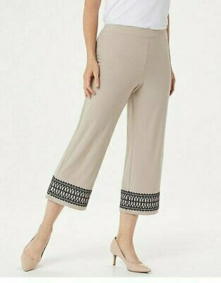 Dennis Basso Regular Caviar Crepe Pull-On Cropped Pants Stone, XX-Small
