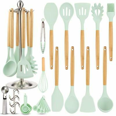 16 Piece Kitchen Utensil Set Silicone Cooking Spatula Kits with Wooden Handle