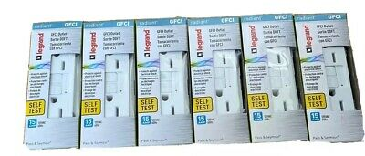 Lot Of 6 Legrand-Pass & Seymour 1597WCCD12 GFCI Outlet, 15 Amp, White
