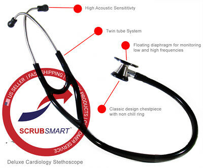 EMI Deluxe Black Cardiology Stethoscope with pressure sensitive Diaphragm #333