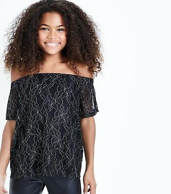 Girls Black Off The Shoulder Top With Metallic Thread Detail In Age 9 Years Bnwt