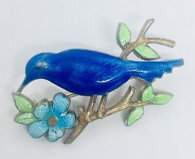 Beautiful Art Deco Guilloche Enamel BLUE BIRD  Brooch Silver Gilt Vtg Jewelry