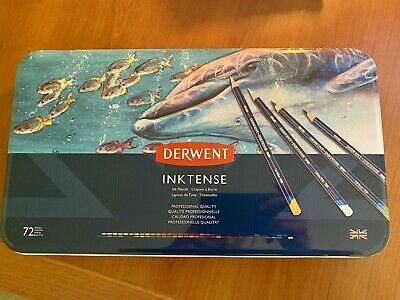 NEW Derwent Colored Pencils, Inktense Ink Pencils, Drawing, Metal Tin, 72 Count
