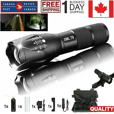 Zoomable Tactical LED Flashlight T6 2000LM 18650/Car Charger+AC Charger Torch