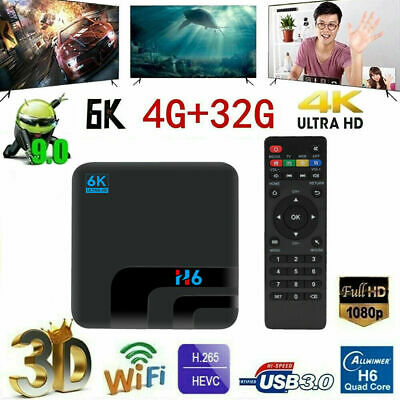 H6 Smart TV Box Android 9.0 4GB RAM 32GB 6K 2.4G WiFi 100M USB3.0 IPTV Lettore