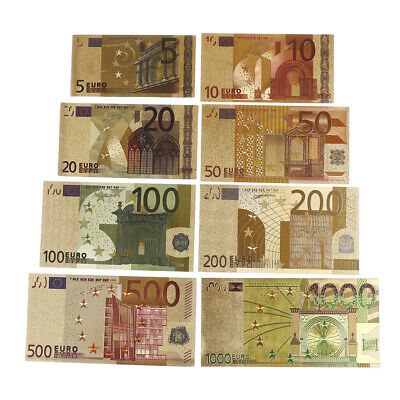 8Pc/Set Euro Banknote Gold Foil Paper Money Craft Collection Bank Note Curren TR