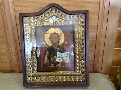 Antique 19C Russian Hand Painted Orthodox Icon St.nicholas Miracle Wood Case