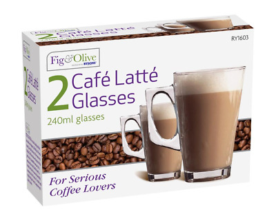 Latte Glass 240ml Tea Cappuccino Tassimo Coffee Cups Mugs Glasses