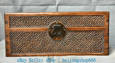 """16"""" Old Chinese Huanghuali Wood Dynasty palace Chest Box Casket Jewelry Cabinet"""