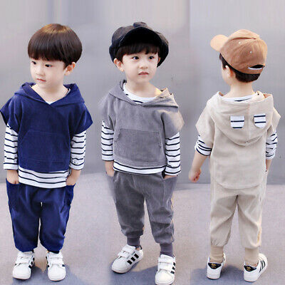Toddler Kids Baby Girl Outfits Clothes Hooded Casual T-shirt Tops+Pants Set