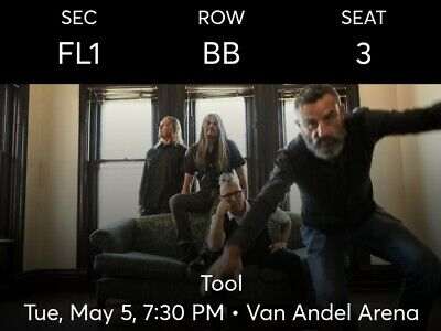 TOOL, Van Andel Arena Grand Rapids, MI May 5, 2020 Floor Sec F1 Row BB Seats 3-4