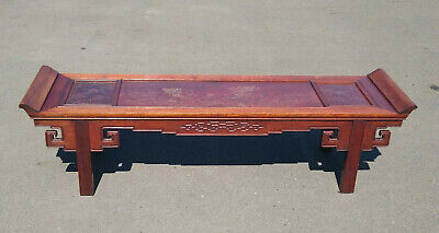 """Vintage Asian Solid Rosewood Altar w/ Beautiful Brass Inlay 64"""" Cranes Clouds"""