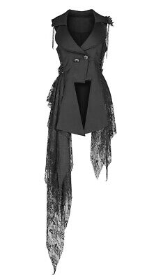 Black Jacket Waisted Asymmetric, Buttons Old and Tattered Den Punk Rave