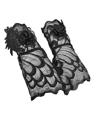 Mittens Black Lace with Pink Black Embroidered, Victorian Gothic punk rave