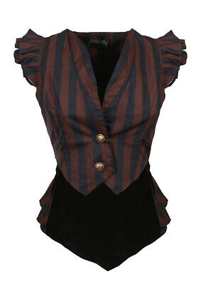 Short Jacket Striped Black and Brown, Tail Pie, Lacing Back, Ste Draculacloth