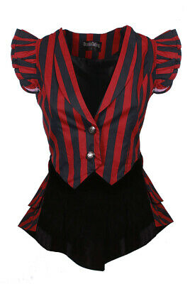 Short Jacket Striped Black and Red, Tail Pie, Lacing Back, Goth Draculacloth