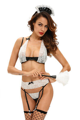 Holding 4 Parts Black and White Lace with Garter Belt, Lingerie Sex