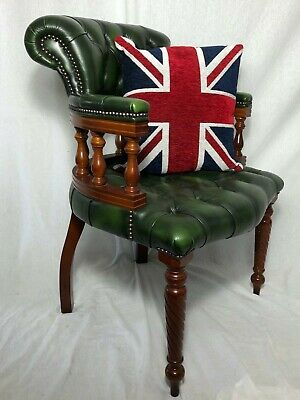 1 Fine Bespoke Regency Style Green Leather Chesterfield Captains Office Armchair