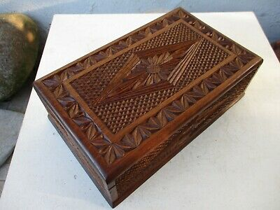 Vintage Lovely Ornate meticulous Handmade Carved Noble Wood Large Box Wooden