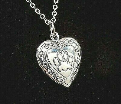 Paw Heart Picture Locket Necklace | Dog or Cat Lovers Gift | Pet Photo Keepsake