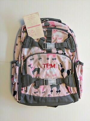 Pottery Barn Kids Backpack, Poodle, Pink/Gray, Large, TPM letters on Front, New