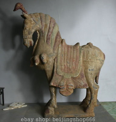 "18"" Ancient China Tang Sancai Pottery Dynasty war Tang Horse Success Sculpture"