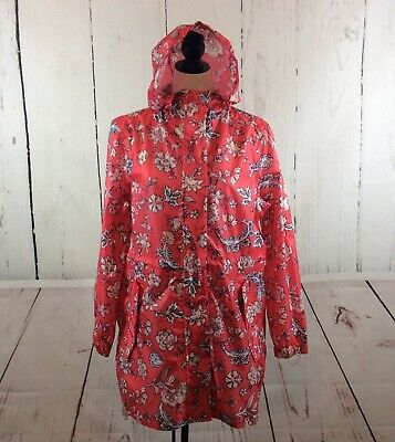 Joules Right As Rain Women's Raincoat Jacket Size 8 Golightly Red Floral Hood