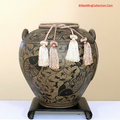Korean High Fired Onggi Stoneware Pottery Twin Fishes Marriage Jar