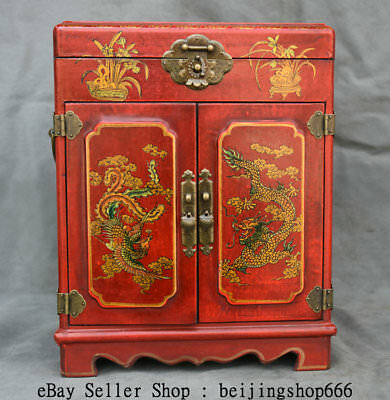 """13.6"""" Old Chinese Lacquerware Painting Dragon Phoenix 3 Drawer Jewel Case Box"""