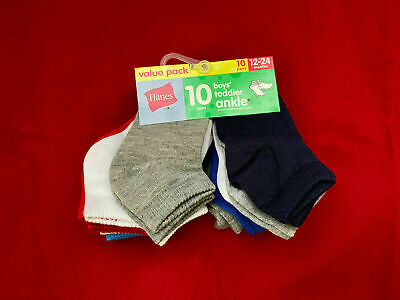 10-Pairs Hanes Boys Infant/Toddler Ankle Socks Assorted Colors Size 12-24 Months