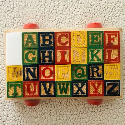 Alphabet Wooden Blocks Building Abc Numbers Block Letters Come In Pull Wagon Toy