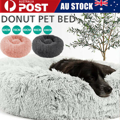 Dog Pet Cat Calming Bed Beds Large Mat Comfy Puppy Fluffy Donut Cushion Plush