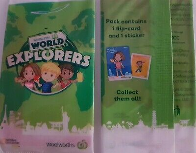 50 x UNOPENED - NEW - Woolworths World Explorers Trading Cards & Stickers
