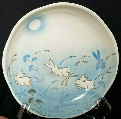"Rabbit Moon Plate 5 1/4"" Small - Set of 2 Kotobuki Japan Blue White Easter Dish"