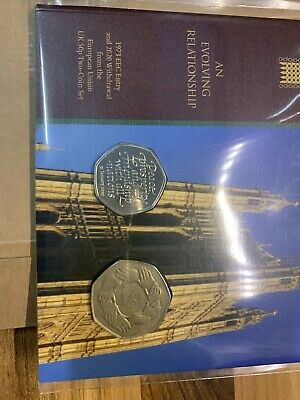 Royal Mint 1973 EEC Entry & 2020 Withdrawal EU UK Brexit 50p Two Coin Set Pack.