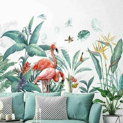 Wall Stickers Tropical Plant Leaves Flamingo Nursery Large