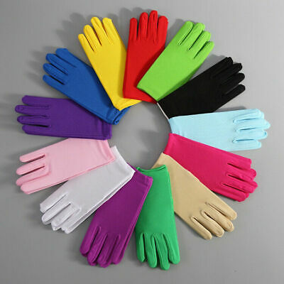 Womens Matte Short Gloves Opera Wedding Bridal Evening Party Prom Costume Gloves