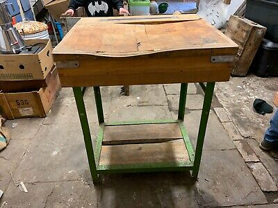Butchers Block On Green Metal Stand