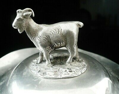 Antique Silver Butter Dish Lid with Goat, Birmingham 1851