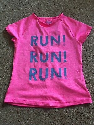 "Girls, Pink, ""Run, Run, Run"" Logo, Vented Back, Running, Top. Age 8-9yrs NEW"