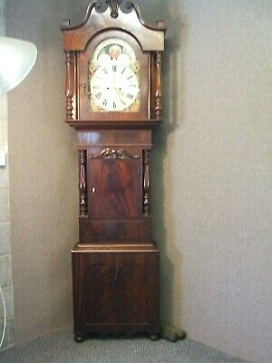 Large Flamed Mahogany Eight Day Longcase  /Grandfather Clock  Rolling Moon Dial